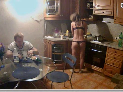 RLC Leora with thong in the kitchen